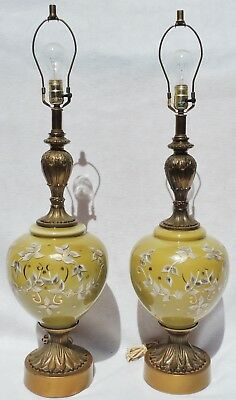 Decorative Arts Pair Antique/vtg Mid Century Hollywood Regency Hd Ptd Art Glass Table Lamps 5188 Numerous In Variety