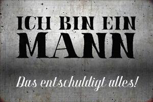 I Am A Man Tin Sign Shield Arched Metal 20 X 30 CM