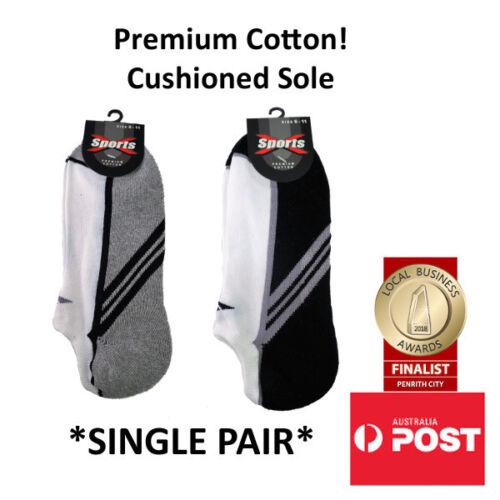 Men/'s Super Low Cut Cushioned Sports Socks in Black Grey