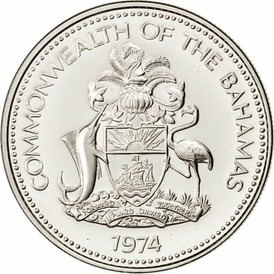 Franklin Mint 1974 Km #63.1 Ms Sweet-Tempered 25 Cents #34165 65-70 Bahamas Nickel Good For Antipyretic And Throat Soother