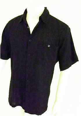 BNWT men cheese cloth gpa shirt black with matching buttons l//s Size=X L