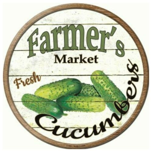 """Farmers Market Cucumbers Novelty Metal Circle Sign 12/"""" Wall Decor DS"""