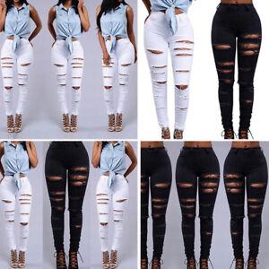 super cute new images of really comfortable Détails sur Femme Jegging Jeans Pantalon Genou Arraché Déchiré Skinny Trou  Slim Effilochée