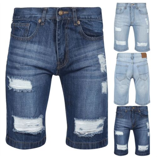 Mens Jeans Destroyed Distressed Classic Knee Length Denim Ripped Faded Shorts