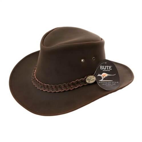 NEW Hazy Blue Australian Cow Hide Leather Bush Hat Waterproof Bute Cowboy Style