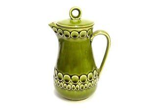 AVACADO-GREEN-GLAZED-CERAMIC-TEA-COFFEE-POT-CARAFE-MADE-IN-JAPAN-W-LID-8-5-034-TALL