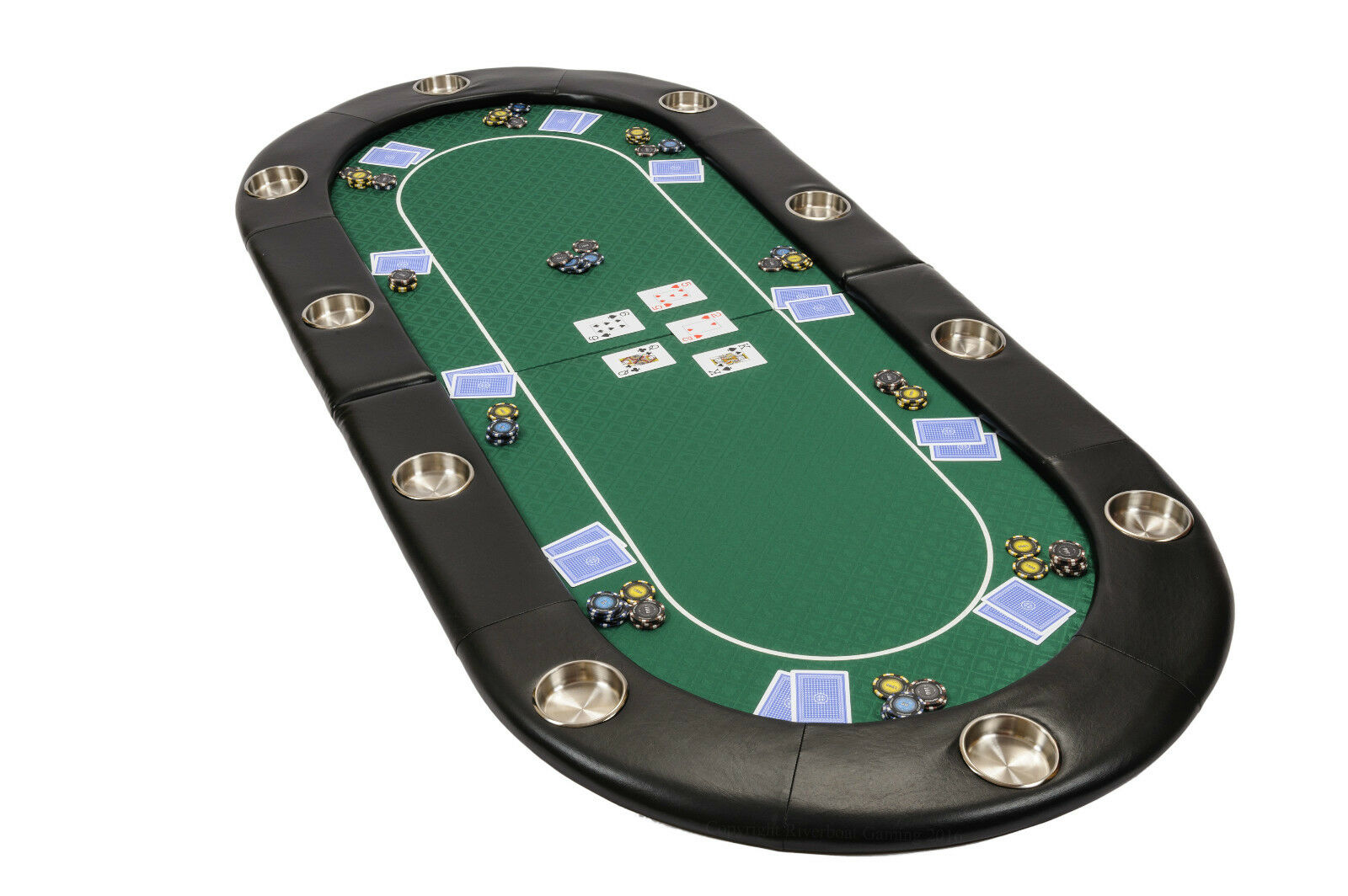 Riverboat Folding Poker Table Top in Grün Speed Cloth 200cm Seats 10 People