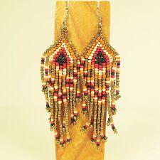 """3 1/2"""" LONG Handmade Southwestern Tribal Chandelier Dangle Seed Bead Earring"""
