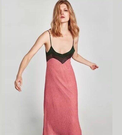 ZARA Shimmery Metallic Long Strappy Pink  Multicoloured Dress Size M BNWT