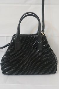COLE-HAAN-GENEVIEVE-WOVEN-BLACK-PATENT-LEATHER-SATCHEL-SMALL-TRI-ANGLE-BAG-MINT