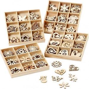 45 streuteile in box holz deko figuren streudeko scrapbooking weihnachten blumen ebay. Black Bedroom Furniture Sets. Home Design Ideas