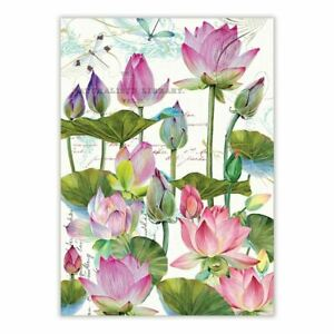 Michel Design Works Cotton Kitchen Tea Towel Watercolor Water Lilies