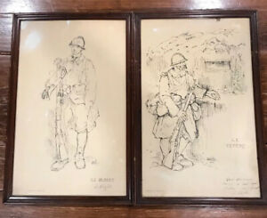 RARE-1916-PAIR-RENE-HELLEU-WW-l-FRANCE-SOLDIER-PRINTS-20X13-EACH