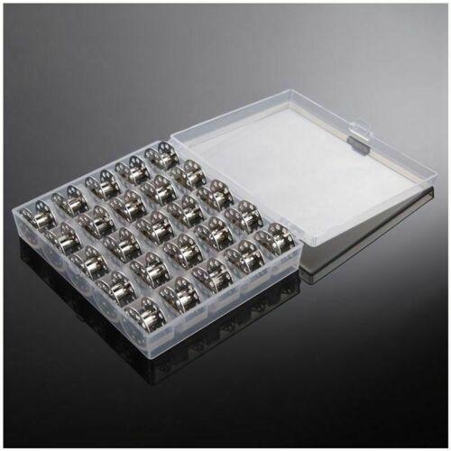 25 Grid Sewing Machine Spools Bobbins Metal Case Coil Box Storage Case Tools