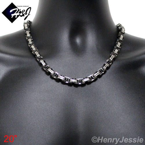 """18-40/""""MEN Stainless Steel HEAVY 9mm Black Silver Byzantine Box Chain Necklace"""