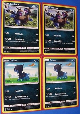 Crimson Invasion Zweilous 61//111 Uncommon Card 4x Pokemon SM