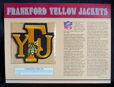 FRANKFORD YELLOW JACKETS Willabee Ward NFL GOLDEN AGE FOOTBALL PATCH & INFO CARD