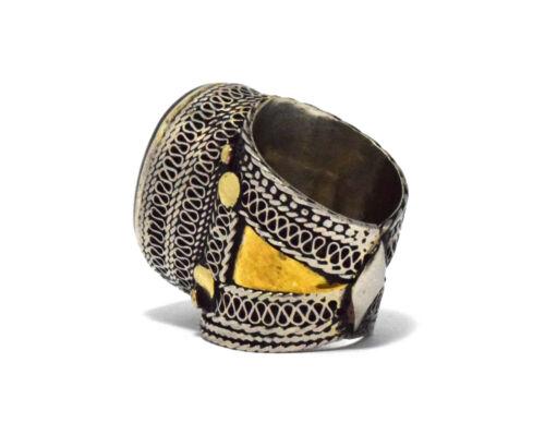 Black Onyx Stone Ring Turkmen Tribal Kuchi Afghan Jewelry Ethnic Gypsy Boho Ring