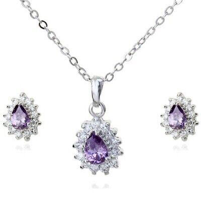 White Gold Plated Purple Cubic Zirconia Heart Necklace And Earrings Set