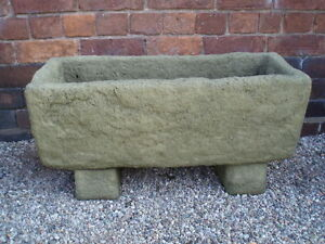 Stone Garden Planters And Troughs Stone garden rustic old style trough with feet planter tub ebay image is loading stone garden rustic old style trough with feet workwithnaturefo
