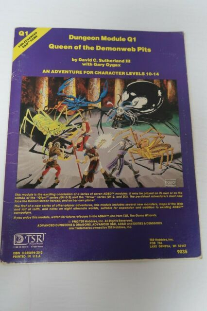 Advanced Dungeons & Dragons AD&D Module Q1 9035 Queen of the Demonweb Pits 1980