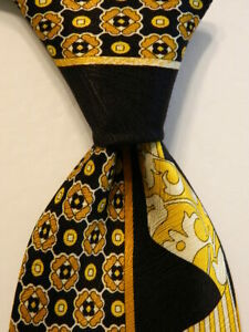 VITALIANO-PANCALDI-Men-039-s-Silk-Necktie-ITALY-Luxury-Geometric-Black-Yellow-EUC