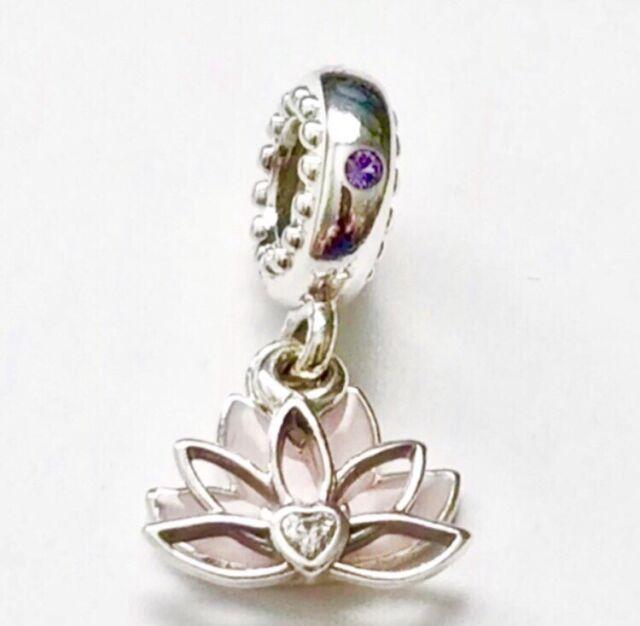 51a48bb45 Authentic PANDORA 925 Ale Pink Serene Lotus Flower Charm Pendant 797259cz