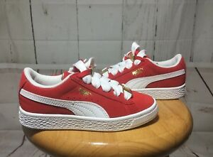 PUMA-Boys Red Suede   White 1968 Gold Tab Low Top Fat Lace Sneakers ... ecc86e416