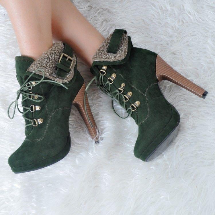 New Retro Womens Fur Trim Lace Up Round Toe Pumps High Heels Ankle Boots Plus sz