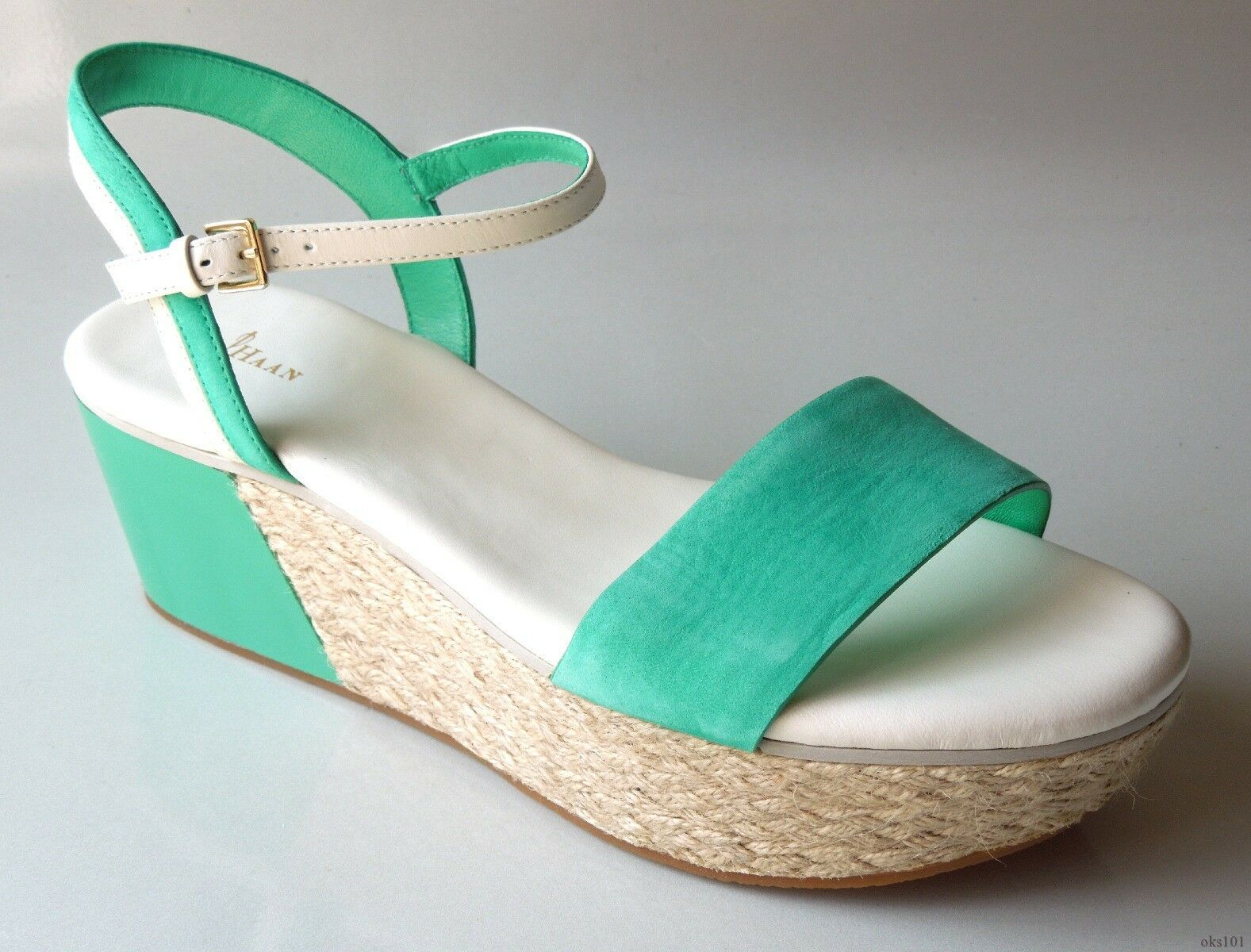 New COLE HAAN 'Arden' green white WEDGES shoes 9.5 - GREAT STYLE
