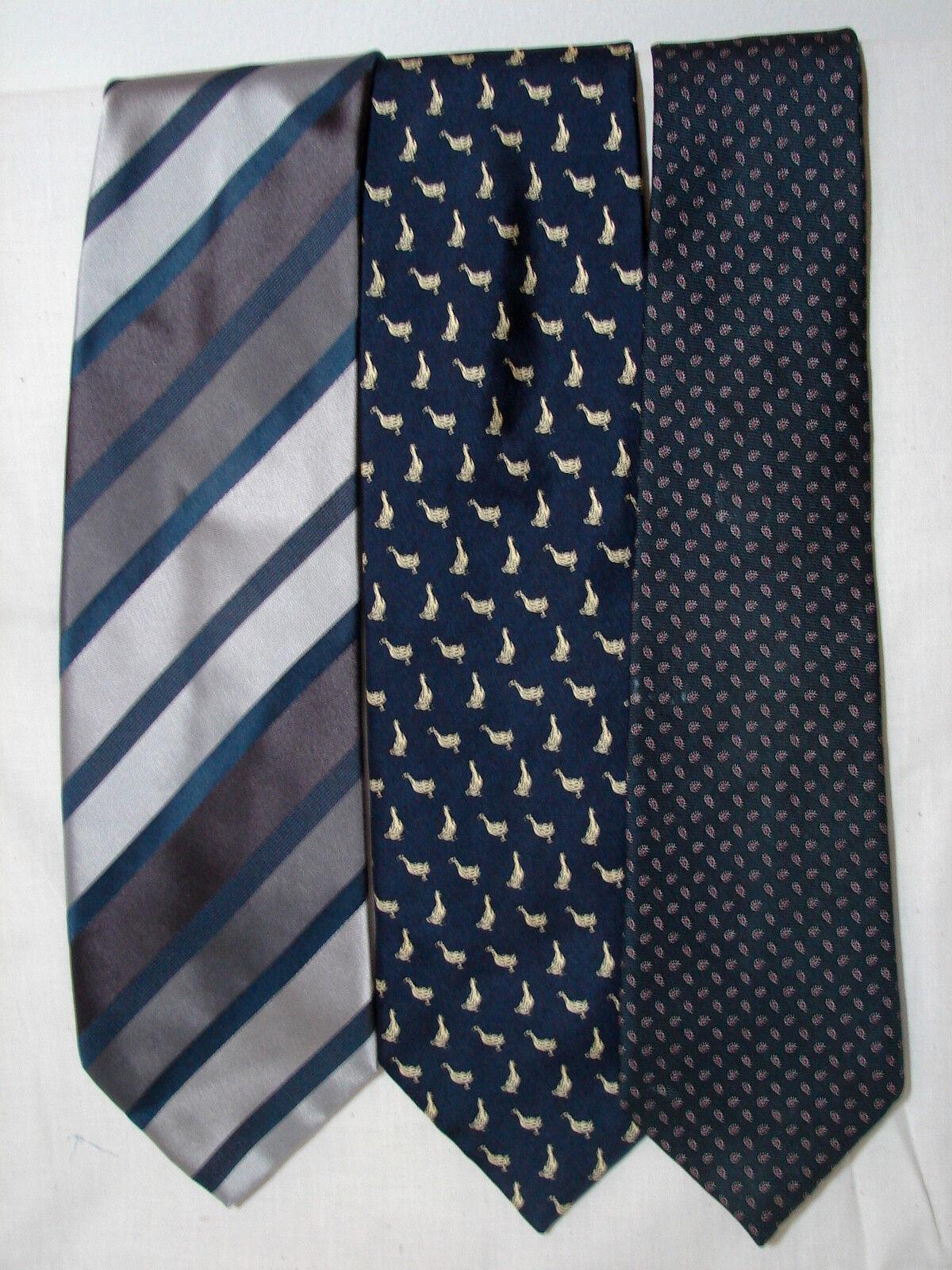 #53 Menge Von 3 Designer100 % Seide Blau Krawatten Desantis Disiena & Churchill