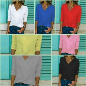 Solid-Tops-Loose-Womens-Pullover-Long-Sleeve-Jumper-V-Neck-Casual-T-Shirt