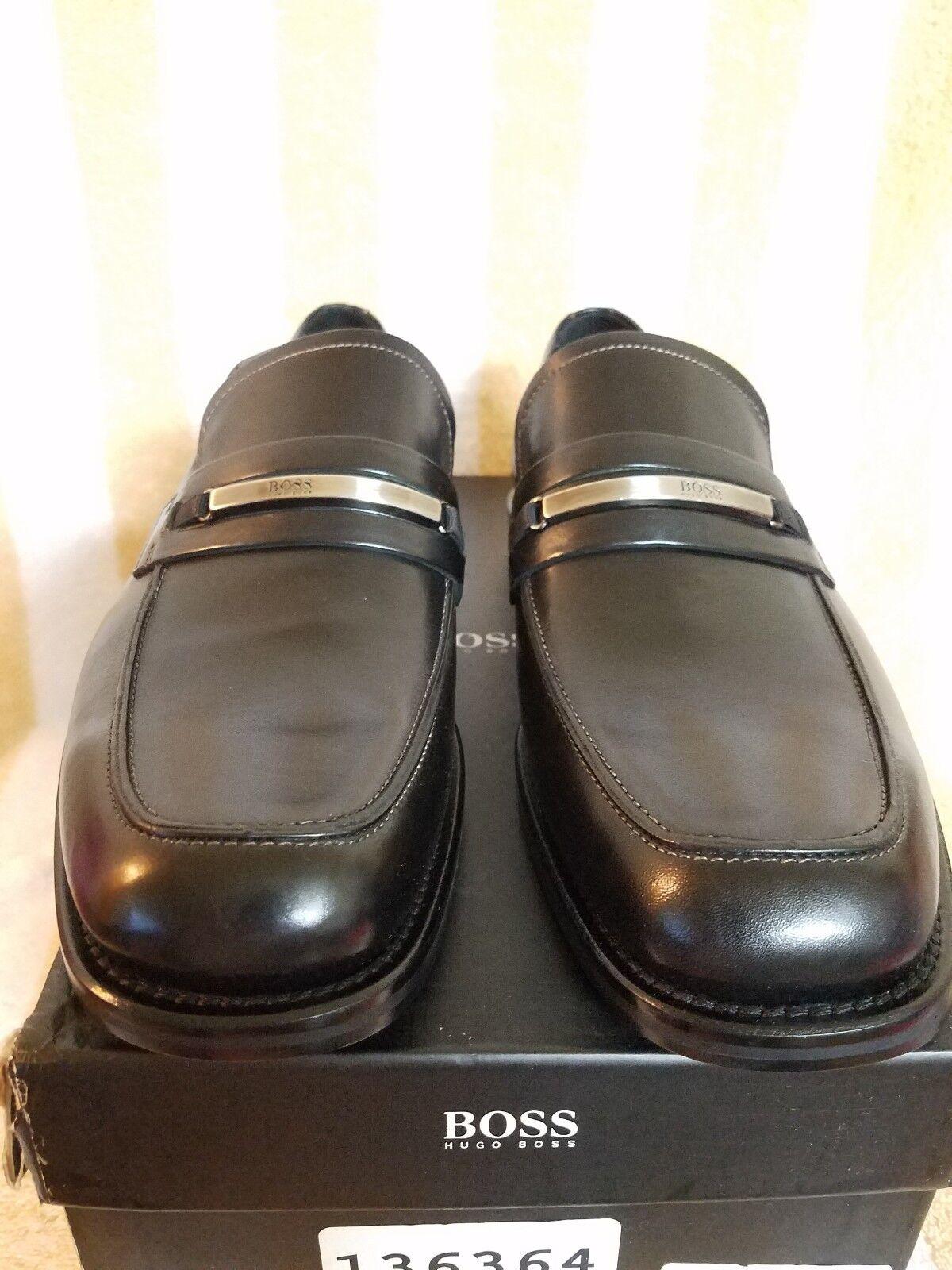 Hugo Boss nero Luxury Mercurio Leather Loafer scarpe 9 Made in  8 9.5 10 DS