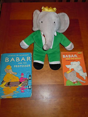 2Bks 1957 Babar Professor Ghost de Brunhoff & Plush Babar Elephant Doll Toy EUC