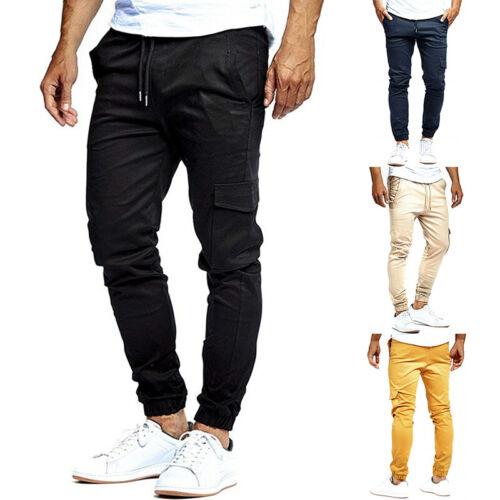 Men Summer Multi Pocket Pants Trousers Overalls Cotton Solid Color M-3XL NEW