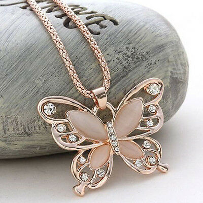 Rose Gold Cat Eye Opal Butterfly Crystal Pendant Necklace Long Sweater Chain HQ
