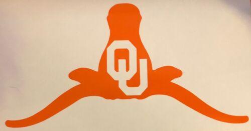 OU branded on A Longhorn Horns Down Vinyl Decal// Sticker BOOMER SOONER