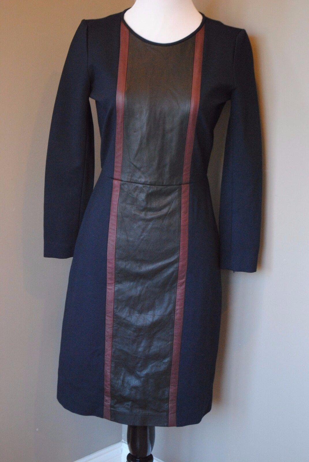 NWT J Crew Petite Leather Panel Dress Day to Night 0 0P B3700  Navy Multi