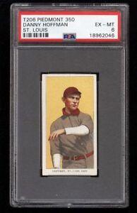 Rare 1909-11 T206 Danny Hoffman Piedmont 350 St Louis PSA 6 EX - MT
