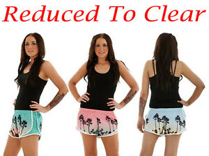 Ladies-Swim-Shorts-Hawaiian-Beach-Summer-Swimwear-Hot-Pants-Multi-Color-S-L