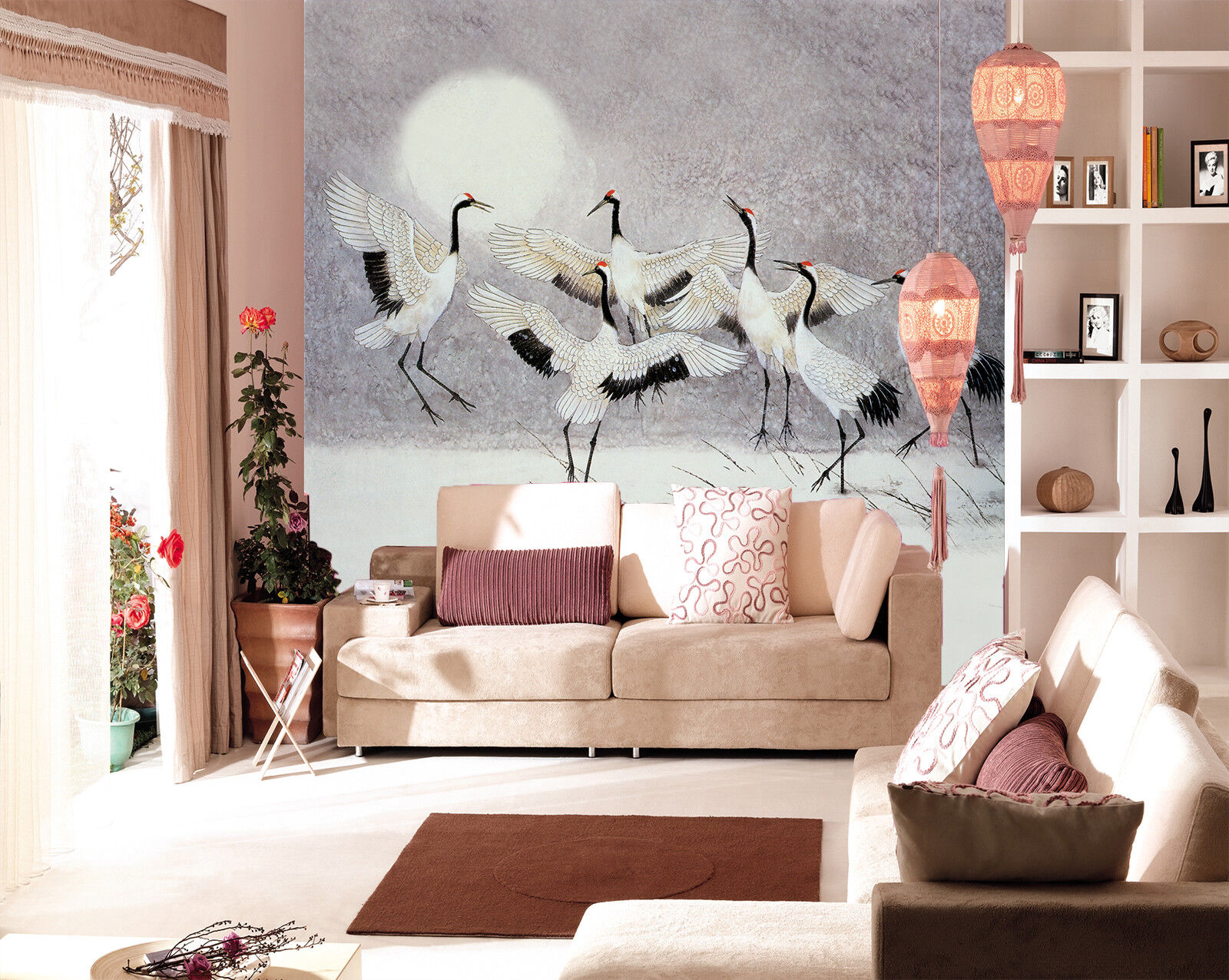 3D Moon Crane 87 Wallpaper Mural Paper Wall Print Wallpaper Murals UK Lemon