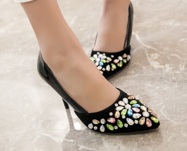Décollte chaussures Éscarpins Femme Aiguille Talon 8.5 cm Pierres noir 8868