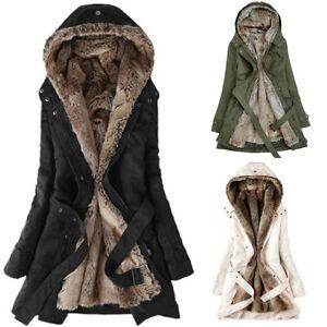 Details about UK Womens Winter Warm Fur Lined Coats Ladies Parka Overcoats Jackets Outwear