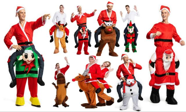 Father Christmas Ride On Rudolph Costume Christmas Fancy Dress Piggy Back XMAS