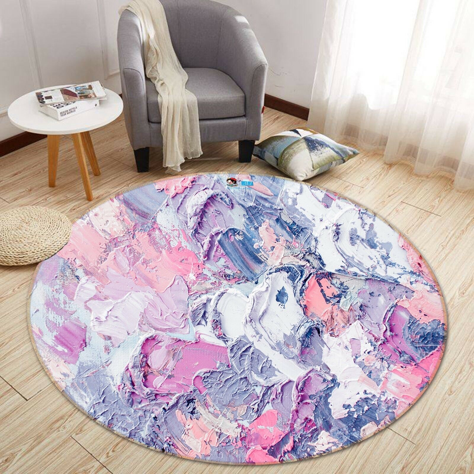 3D Gouache Coating 4 Non Slip Rug Room Mat Round Quality Elegant Photo Carpet AU