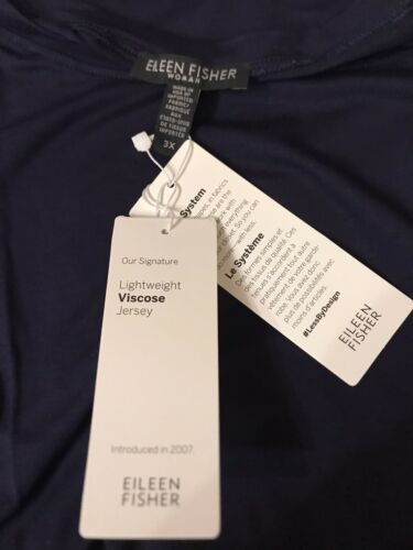 Details about  /Eileen Fisher The System Round Neck Tee T-Shirt Plus 3X Midnight