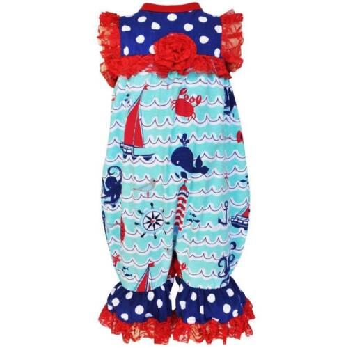 AnnLoren Girls Boutique Nautical Romper w Red Lace Trim  6-9M 12-18M or 18-24M