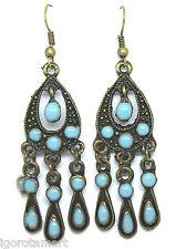 New Vintage Bronze Multi-drop Dangle Chandelier Earrings Fish Hook Earring