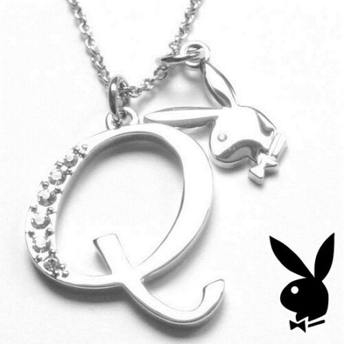 Playboy Necklace Initial Letter Q Pendant Bunny Charm Crystals Platinum Plated
