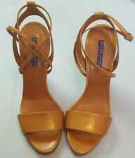 RALPH LAUREN COLLECTION WAMIRA BROWN BABY CALF WEDGES SIZE 11B 43B MADE IN ITALY
